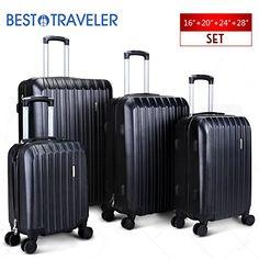 "BEST TRAVELER 4 Piece ABS Luggage Set Light Travel Case w/Spinner Hardshell Suitcase-16"" 20"" 24"" 28"""