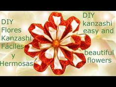 DIY flores Kanzashi fáciles y hermosas en cintas - Kanzashi easy and beautiful flowers in ribbons - YouTube