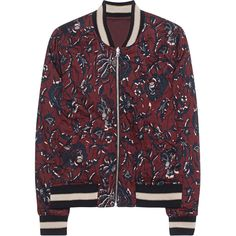 Isabel Marant Étoile Dabney Burgundy // Patterned bomber jacket (1.480 BRL) ❤ liked on Polyvore featuring outerwear, jackets, sweatter, reversible jacket, slim fit sports jacket, lightweight jackets, letter jacket and slim fit jackets