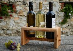 Rustic Wine Rack Solid wood Wine Stand Wooden by WoodRestart Diy Wooden Projects, Small Wood Projects, Wine In The Woods, Palette Deco, Wine Stand, Wine Caddy, Bed Frame Design, Rustic Wine Racks, Recycling