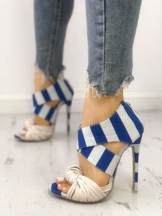 so obsessed with this cute heels Striped Crisscross Knotted Thin Heeled Sandals … – Beauty Coupons Stilettos, Stiletto Heels, High Heels, Flat Shoes, Shoes Heels, Heeled Sandals, Buy Shoes, Chunky Sandals, Flat Sandals