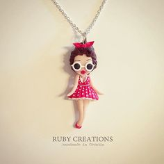 Retro summer collection, pin up doll necklace #retro #vintage #pinup #girl #doll…