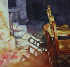 """Original watercolor painting titled """"Stained Glass Shadows"""" from a church in France with the light streaming through the stained glass and the shadows from the chairs on the church floor. Painted Chairs, Hand Art, Light And Shadow, Watercolor Paintings, Watercolour, Art For Sale, Stained Glass, Art Gallery, Shadows"""