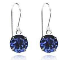 Navy Single Crystal Drop Earrings - $9.80