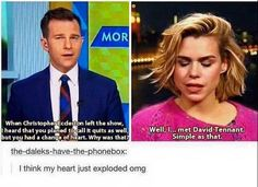 Proof David Tennant and Billie Piper are the best. Doctor Who, 10th Doctor, Twelfth Doctor, Fandoms, Out Of Touch, Billie Piper, Don't Blink, Rose Tyler, David Tennant