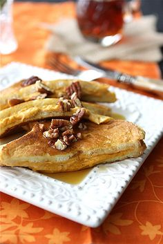 Pumpkin Stuffed French Toast with Toasted Pecans