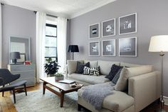 (this could also be a good color in the common living spaces. again, get a sample and paint some different walls to see how it looks) Valspar London Fog, Modest Silver, and Dove White
