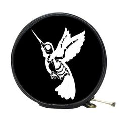 Skeleton Humming Bird Round Accessory Bag by StuffoftheDead