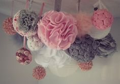 Pink and Grey Shabby Chic Mobile (DIY Multipurpose POM POM Mobile/Chandelier)~ GREAT PARTY DECOR- for showers, bday, holidays, etc