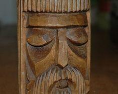 Vintage Norwegian  mid century carved wooden pot, ornamental, viking, danish,scandinavian, wood, 1960s, paintbrushes holder, stylish,
