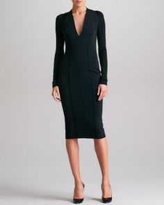 Seamed Plunging Jersey Dress, Black by Donna Karan at Neiman Marcus.