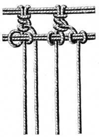 FIG. 538. FASTENING THE THREADS TO THE CORD.