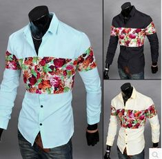 Fashion New Products Men Shits Printing Floral Shirt Splicing Shirt Long Sleeve Button Down Shirts 6603
