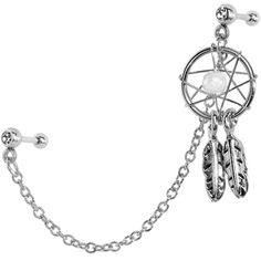 968a37d947d9 Clear CZ Dreamcatcher Cartilage Tragus Barbell Earring Chain   Body Candy  Body Jewelry Пирсинг Козелка,
