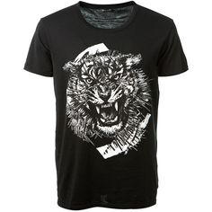 Balmain Tiger Printed Black Cotton T-Shirt ($355) ❤ liked on Polyvore featuring men's fashion, men's clothing, men's shirts, men's t-shirts, mens short sleeve shirts, mens cotton t shirts, j crew mens shirts, mens cotton short sleeve shirts and mens crew neck t shirts