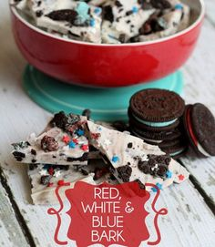 4th of July Desserts - Red, White & Blue Bark