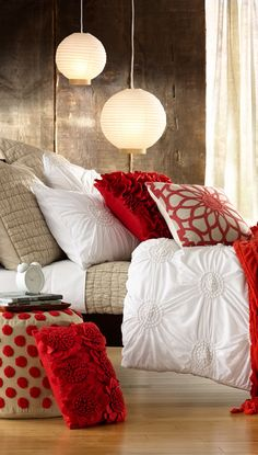 Chloe Duvet Cover - can get from Nordstrom. Also love the red accent pillows (also at Nordstrom)