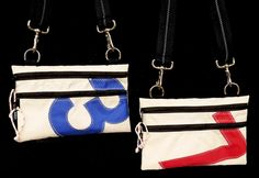 How cute are these little bags made from recycled sail!  Perfect little bag for summer! #nautical #preppy