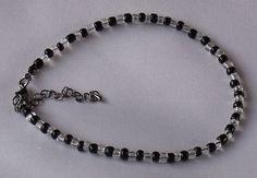 Handmade Anklet Black Crystal Clear Glass Seed Beads Zebra Style Ankle Bracelet on Etsy, £4.95