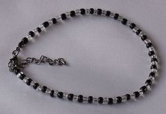 Handmade Anklet Black Crystal Clear Glass Seed Beads Zebra Style Ankle Bracelet on Etsy, £4.95