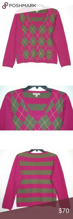 "Burberry London Argyle striped v-neck sweater 100% cashmere. Length 20 1/2"". Chest 19 3/4"". Sleeve 21"". Burberry Sweaters V-Necks"