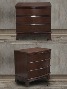 This brown wood chest of drawers night stand has a contemporary vibe with its brown cherry-finished veneer on top of solid wood. It also features stylishly flared legs, brushed nickel handles and metal glides along the center.