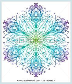 Peacock Feather Art Nouveau Snowflake