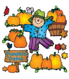 Decorate your entire autumn classroom with this adorable Pumpkin Patch Bulletin Board Set from Carson Dellosa!