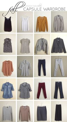 Fall Capsule Wardrobe items.   I would need to alter some of the colors (beige and mustard don't look good on me) but this gives a great basic 20-piece Fall wardrobe which the author uses to make 36 unique outfits.