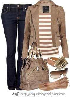 Brown outfit for Fall - boots would be better with the skinnies for me.