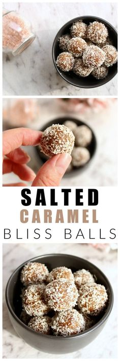 These salted caramel bliss balls are healthy, refined sugar free, dairy free and. - These salted caramel bliss balls are healthy, refined sugar free, dairy free and just as delicious as the real-deal salted caramel. Almond Recipes, Raw Food Recipes, Sweet Recipes, Dessert Recipes, Healthy Recipes, Baking Recipes, Breakfast Recipes, Healthy Sweets, Healthy Baking