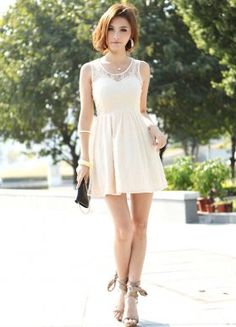 Western Style Yarn Spliced Dresses Apricot : Wholesaleclothing4u.com