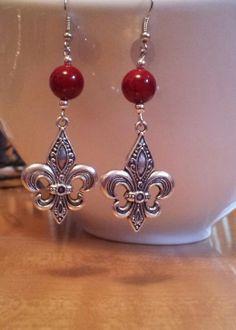 Fleur de Lis Earrings by AphroditeWearableArt on Etsy, $8.00