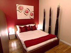 spare bedroom red accent wall and the cream colors - Bedroom Color Red