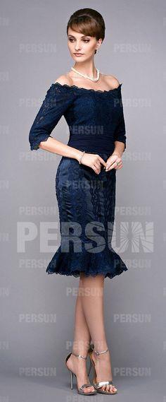 robe de soirée bleu marine sirène avec manche courte Formal Dresses, Sexy, Fashion, Navy Evening Gown, Blue Party Dress, Dress Collection, Dress Ideas, Sleeve, Fashion Ideas