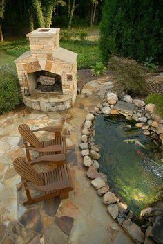 Outdoor fish pond and fireplace