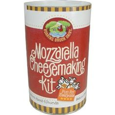Roaring Brook Dairy Mozzarella Cheesemaking Kit - Foolproof. Easy. Great cheese. 4 lbs in kit, 1 lb at a time. Includes 1 rennet tab that is cut into 4, citric acid, salt, thermometer, instructions. basically able to do without kit if you can find rennet. I cannot locally.
