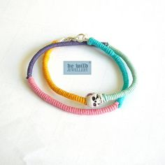 Bracelet No. 054 Double bracelet in different colors with white skull