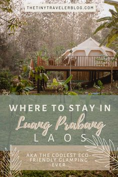 When traveling to Luang Prabang, stay at this unique accommodation at the Namkhan Ecolodge. They have a very cool glamping tent right outside the city. There are so many things to do right on the property, and is amazing for getting those shots for instagram or if you're a photographer. But if you just want a fun, unique experience, then this is for you.