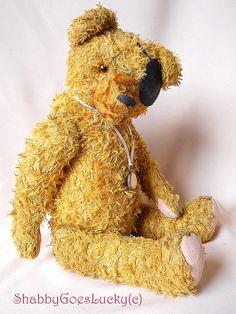 Antique German teddy bear large hard stuffed by ShabbyGoesLucky, €150.00