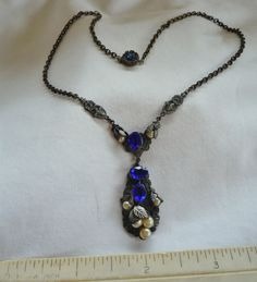 Estate Found Vintage Blue Rhinestone & Real Pearl Victorian Style Necklace