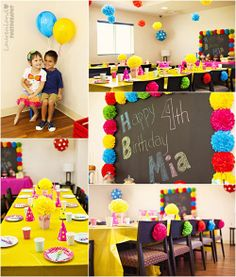 Colorful Rainbow Carnival Birthday Party