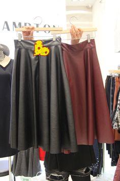 PU Skirt Mid-Waist Pleated Casual Skirt