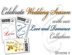 USPS has a section for weddings  You can even customize your own stamps.     https://store.usps.com/store/browse/subcategory.jsp?categoryId=subcatCP_LoveRomance=catBuyCustomPostage%3AsubcatCP_LoveRomance