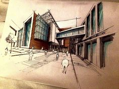 Architectural sketch by Rafik Sabra