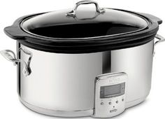 All-Clad 99009 Polished Stainless Steel 6.5-Quart Slow Cooker with Black Ceramic Insert with 26 Hour Max Cycle Time Kitchen Electrics, Silver All-Clad http://www.amazon.com/dp/B0007SXBUQ/ref=cm_sw_r_pi_dp_81w1ub0FJWG0Q