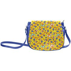 Vintage Aqua Yellow Floral Pattern Classic Saddle Bag/Large (Model 1648)