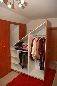 46 ideas attic storage solutions slanted walls small ideas attic storage solutions slanted walls small spaces storageAngled brackets to maximize space in the loft cabinet.Angled brackets to maximize space in the loft closet. Attic Closet, Closet Bedroom, Closet Space, Diy Bedroom, Bedroom Small, Trendy Bedroom, Bedroom Ideas, Tiny Closet, Attic Office