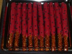 1 Basic Chocolate Covered Pretzel Stick, great for lady bug theme parties 1st Birthday Girls, Birthday Fun, First Birthday Parties, Birthday Ideas, Theme Parties, Ladybug 1st Birthdays, First Birthdays, Chocolate Covered Pretzel Sticks, Girl Shower