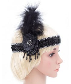 Black and Silver Feather Flapper Headband   ACCESSORIES